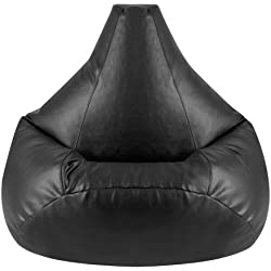 Hi-BagZ®, Puf para Sentarse a Jugar de Cuero Sintético, Color Negro.