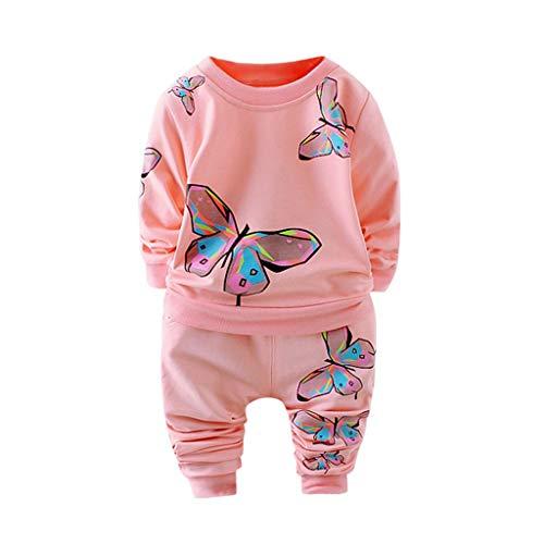 y Jungen und Mädchen Insgesamt Langarm T-Shirt und Hose Trainingsanzug Bekleidungsset Outfits Schlafanzug mit Schmetterlingsdruck(Rosa,80-90cm/M) ()