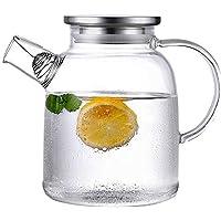 GSAGJsf Hervidor de Agua fría, Lanzador Europa de Vidrio con Tapa de Acero Inoxidable, Agua Caliente Jarra jarro de Agua fría, Jugo, té de Hielo, Hecho en casa Bebidas, 1600ml