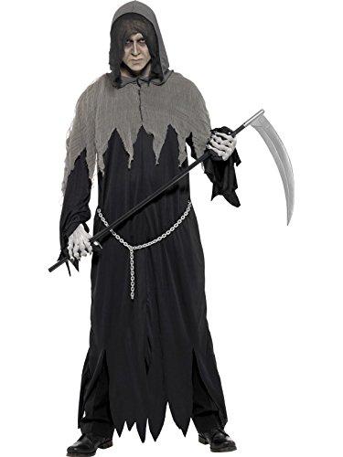 Smiffys Herren Sensenmann Kostüm, Gewand, Kette und Kapuze, Größe: L, 32198 (Der Finsternis-kostüm Herr)