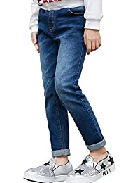66ff59509 NABER Kids Girls' Casual Elastic Waist Denim Pants Slim Fit Jeans Age 4-13