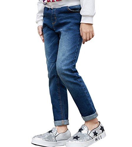 NABER Kids Girls' Casual Elastic Waist Denim Washed Jeans Age 4-13 Years