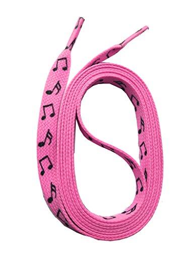 SNORS bedruckte Schnürsenkel NOTEN rosa 140cm, 10mm, Schuhbänder mit Motiv, reißfest, waschbar, Flachsenkel Made in Germany