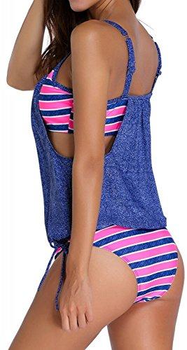TDOLAH Damen Padded Bikini-Set Streifen zweiteilig Swimwear Beachwear Denim Blau