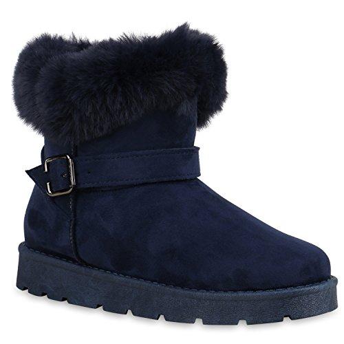 e679e8c47f0227 Stiefelparadies Damen Stiefeletten Warm Gefütterte Stiefel Leder-Optik  Winter Boots Nieten Zipper Schnallen Camouflage Schuhe