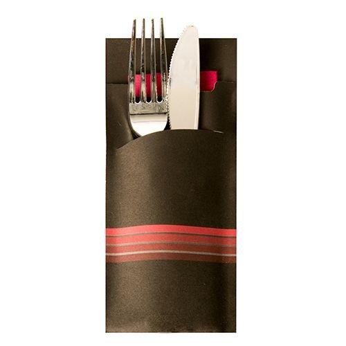 PAPSTAR 520 Bestecktaschen 20 cm x 8,5 cm Schwarz/Bordeaux Stripes inkl. Farbiger Serviette 33 x 33 cm 2-Lag. 86703 Serviettentaschen Streifen