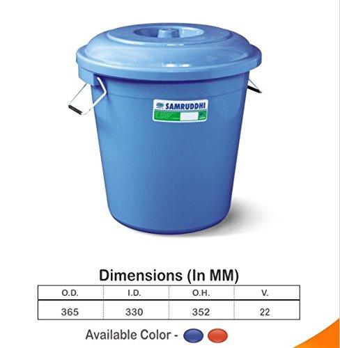 Samruddhi Water Storage Unbreakable Jumbo Plus Plastic Drum Bucket with Lid, 22 L, Blue