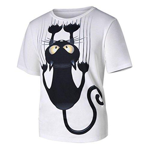 Elecenty t-shirt uomo donna coppia modelli t-shirt a maniche corte t-shirt stampata con motivo gatto (size:m, bianco)