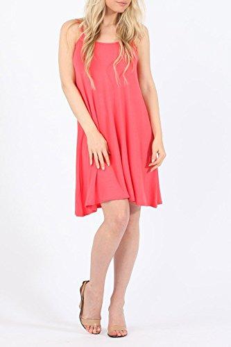 Damen Plain Cami Swing-Kleid EUR Größe 36-42 Koralle