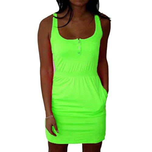 Kleid damen mini Kolylong Frauen Feder Sommer beiläufige Baumwolle Bodycon Minikleid Grün