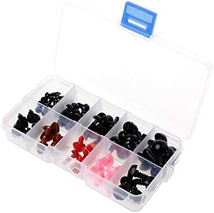Junlinto, 75Pcs 6-12mm 6-12mm 6-12mm Nez de Yeux en Plastique de sécurité pour la boîte de métiers d'art 58fe4a