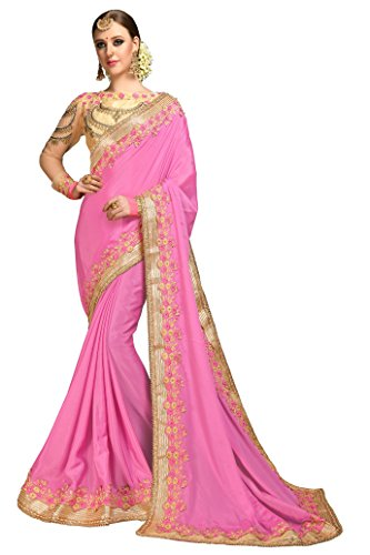 Magneitta Women's Crepe Chiffon Saree With Blouse Piece (97036_Pink)