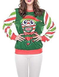 BBestseller Sweatshirt Mujeres Casual Elegante Jerseys Feliz Navidad O-Cuello Pullover Impreso Kimono Sudadera Blusa