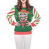 Sannysis Damen Weihnachten Pullover Langarmshirt Santa Claus und Schnee Druck Sweatshirt Rundkragen Pulli Bluse 3D Digitaldruck Sweater Weihnachtspullover
