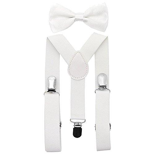Vertvie Kinder Hosenträger Krawatte Set Y-Form Verstellbare Hosenträger mit den starken Clips für Jungen und Mädchen (One Size, Weiß)
