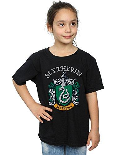 Harry Potter Mädchen Slytherin Crest T-Shirt Schwarz 12-13 Years