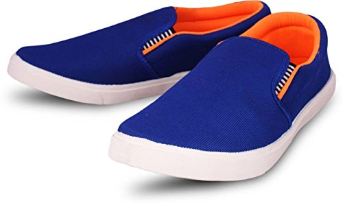 Leewon Men\'s Blue/Red Canvas Loafers & Moccasins-9