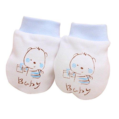 janly® 1Paar Cute Cartoon Baby Infant Anti Kratz Fäustlinge weich Neugeborene Schutz Face Handschuhe 100% Baumwolle Geschenk, blau