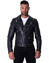 65b1775750de D Arienzo - CHIODO Biker • Couleur Noir • Blouson Cuir Homme Perfecto Cuir d