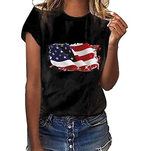 Oversize Shirt Oberteile für Damen,Dorical Frauen Sommer Rundhals T-Shirt Loose National Flagge Unabhängigkeit Tag Drucken Kurzarm Shirts Bluse Tops S-3XL Rabatt(Schwarz,Medium)