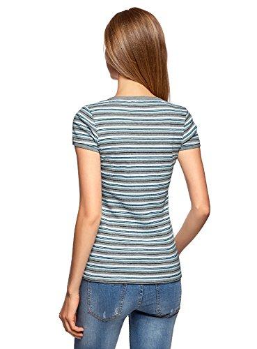 Das Modell fällt kleiner aus oodji Ultra Damen Henley-T-Shirt Gerippt Grau ( 2373S) ...