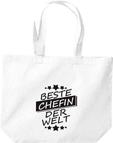 ShirtInStyle grosse Einkaufstasche Beste CHEFIN der Welt Weiss