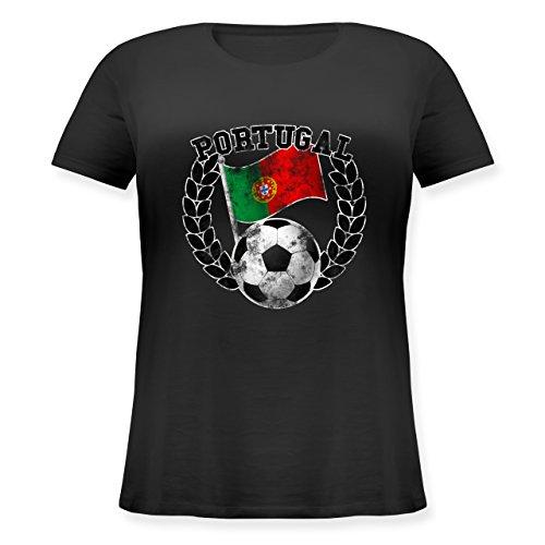 EM 2016 - Frankreich - Portugal Flagge & Fußball Vintage - Lockeres Damen-Shirt in großen Größen mit Rundhalsausschnitt Schwarz