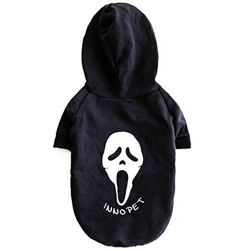 InnoPet Halloween-Kostüm, für Kleine Hunde, Leuchtende Kapuzenpullover, Hundemantel, Warmer Sweatshirt, Winterjacke, Hundebekleidung für Kaltes Wetter, L, schwarz (Was Zwei-halloween-kostüme Ein-und)
