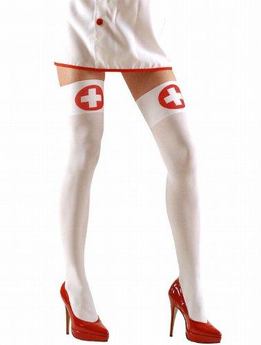 Widmann 4705N - Halterlose Strümpfe für Krankenschwester, 70 den (Kostüm Halloween Krankenschwester)