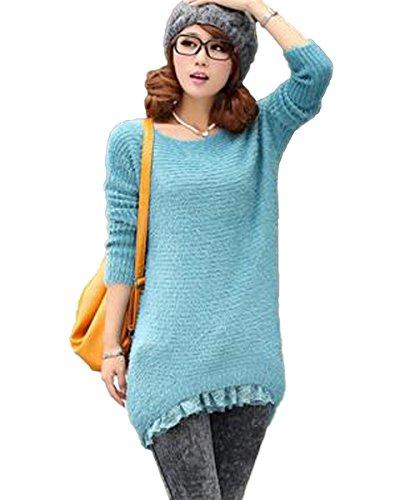Minetom Donne Knit Girocollo Orlo di Pizzo Maglione Allentato Pullover Maglieria Camicia Camicetta Blu One size
