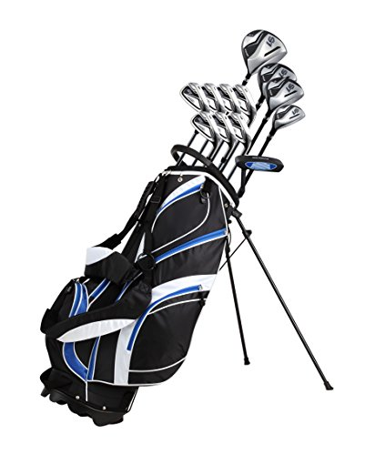 18 Piece Men's Complete Golf Club Package Set With Titanium Driver, #3 & #5 Fairway Woods, #4 Hybrid, 5-SW Irons, Putter, Stand Bag, 4 H/C's – Choose Color & Size