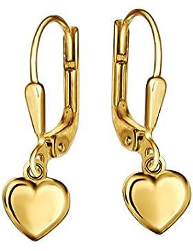 CLEVER SCHMUCK Goldene Ohrhänger 19 mm mit Mini Herz 5 x 5 mm beidseitig gewölbt und glänzend 333 GOLD 8 KARAT