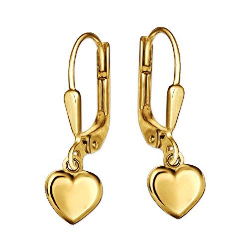 Clever Schmuck Goldene Kinder Ohrhänger 19 mm mit Mini Herz 5 x 5 mm beidseitig gewölbt und glänzend 333 GOLD 8 KARAT