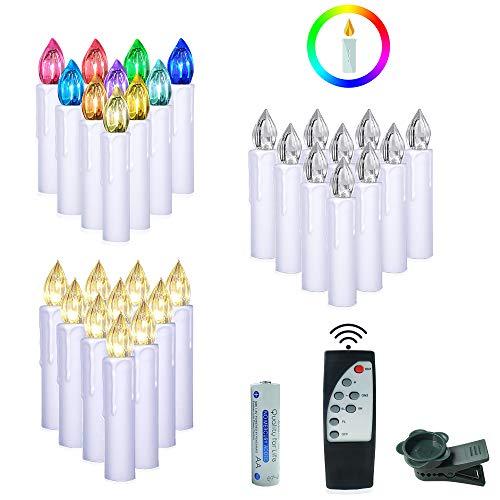 Aufun LED Weihnachtskerzen mit Fernbedienung Kabellos 30 Stück LED Kerzen mit Batterien für Weihnachtsbaum, Weihnachtsdeko, Hochzeitsdeko, Party, Feiertag - Warmweiß + RGB 2 in 1
