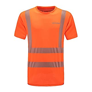 AYKRM Hi Viz VIS High Visibility t Shirt Reflective Tape Safety Security Work T-Shirt Breathable Lightweight Double Tape Workwear Top EN ISO 20471 (L, Orange)
