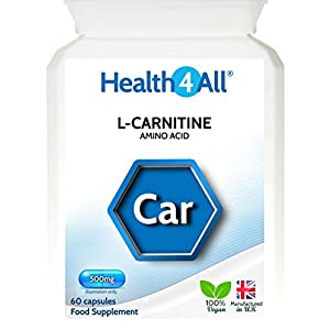 41aTfyTI3tL. SS300  - L-Carnitine 500mg 60 Capsules (V) Fat Burner. Vegan. Made by Health4All