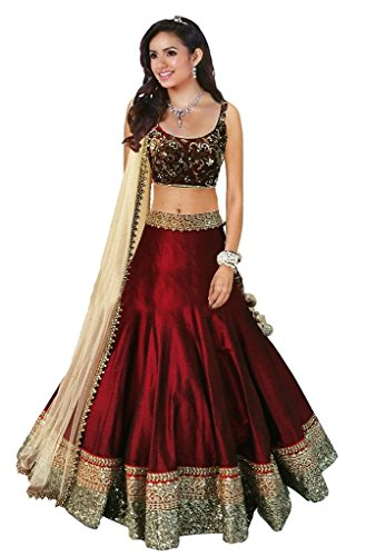 Dipak Fashion New Designer Red Fancy Embroidery Silk Lehenga For Women  available at amazon for Rs.225