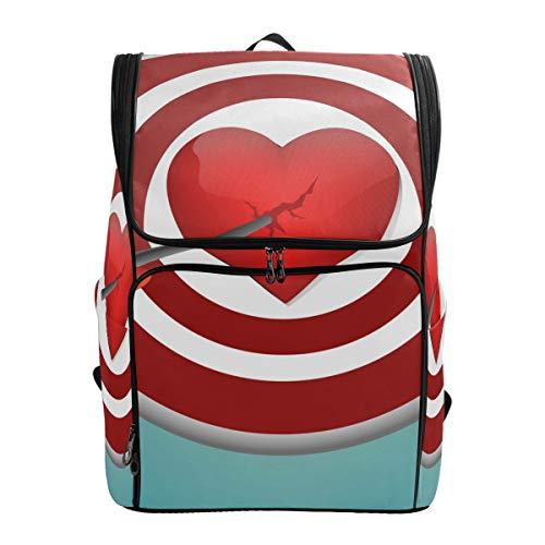 FANTAZIO Rucksack Breaking Heart mit Dartpfeil, für Outdoor-Aktivitäten, Wandern, Camping, Freizeit-Rucksack, groß