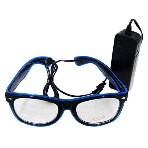 Livecity LED EL Draht Gläser, helle bis Glow Sonnenbrille Eyewear für Nachtclub Party, Weihnachten, plastik, saphirblau, Einheitsgröße