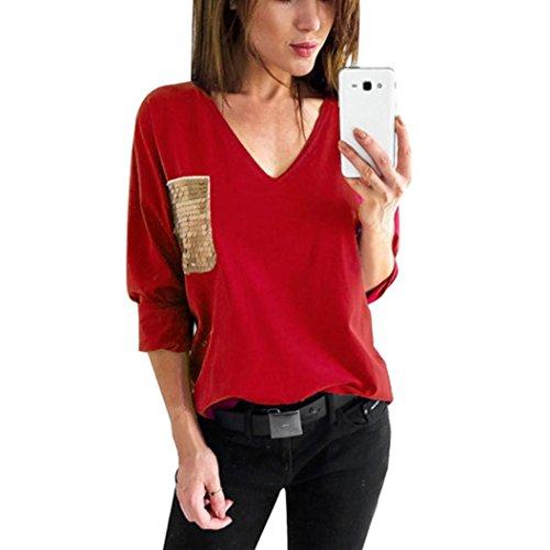 T-shirt Donna,LandFox Donna Paillettes Tasca Manica Lunga V-Collo Accostare  Camicetta