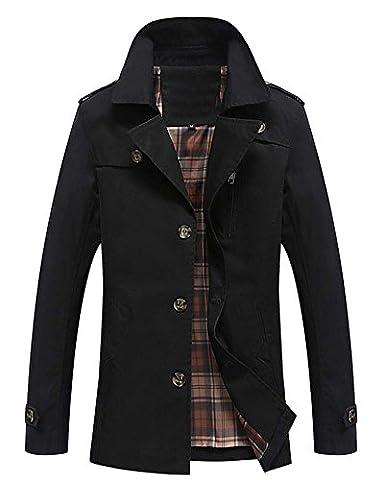 Homme Revers Pardessus Trench-Coat Chaud Veste Longue Manteau Noir L