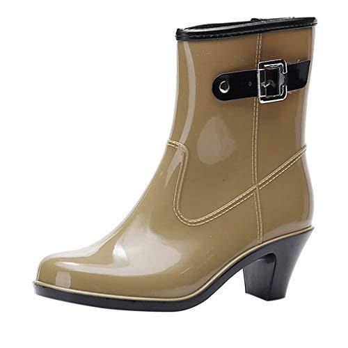 Dorical Wasserdicht Stiefel für Damen/Frauen Gummistiefel Halbschaft Regen Stiefel Hohe Knöchel Boots Gummistiefeln der Frauen Glatt Stiefeletten(Khaki,40 EU)