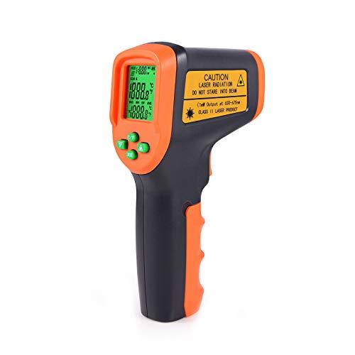 Winjun Berührungslos Digital Infrarot Thermometer -50~650℃ Pyrometer Temperaturmessgerät Temperaturmesser LCD Bildschirm mit Schutzhülle für Industrie Küsche Lebensmittel Autoreparatur