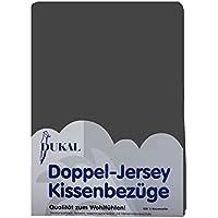 DUKAL, 2 Kissenbezüge 50 x 50 cm, aus hochwertigem DOPPEL-JERSEY (100% Baumwolle), Farbe: anthrazit