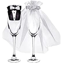 PartyDeco uk-karton–Juego de 2piezas para cubrir las copas - Forma de vestidos de novios