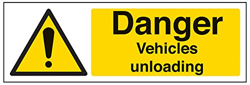 """vsafety 64015–Schaukelgestell ax-s\""""Gefahr Fahrzeuge Entlädt\"""" Warnung Fahrzeug-Zeichen, selbstklebend, Landschaft, 300mm x 100mm, schwarz/gelb"""