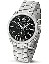 Philip Blaze Men's Quartz Watch with Black Dial Chronograph Display and Silver Stainless Steel Strap R8273995225