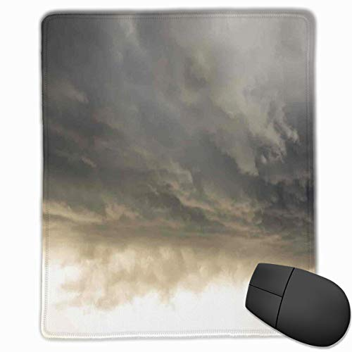 Mouse Mat Stitched Edges, Heavy Storm Clouds In Dark Sky Hurricane Weather Cloudscape Mass Of Liquid Droplets Image,Gaming Mouse Pad Non-Slip Rubber Base Edge-hurricane