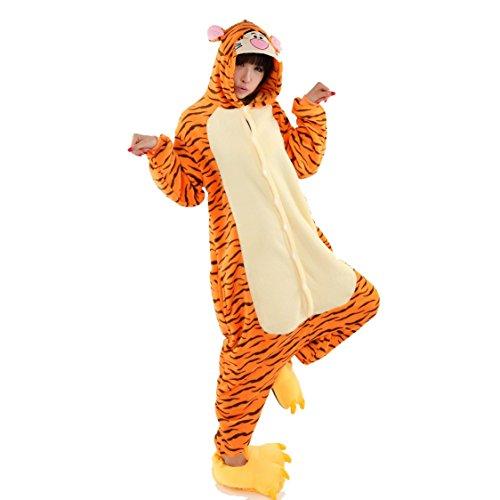 Yimidear® Unisex Pigiama Adulto Animale Cosplay Halloween Costume Attrezzatura (Tigger, XL)