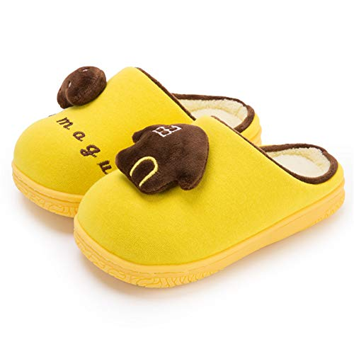 KKCD-slipper Kinder Baumwolle Pantoffeln,Hausschuhe Jungen Winter Mädchen Weiche Plüsch Pantoffeln,Cartoon Hausschuhe Leicht rutschfeste Slippers,Gelb,160/170